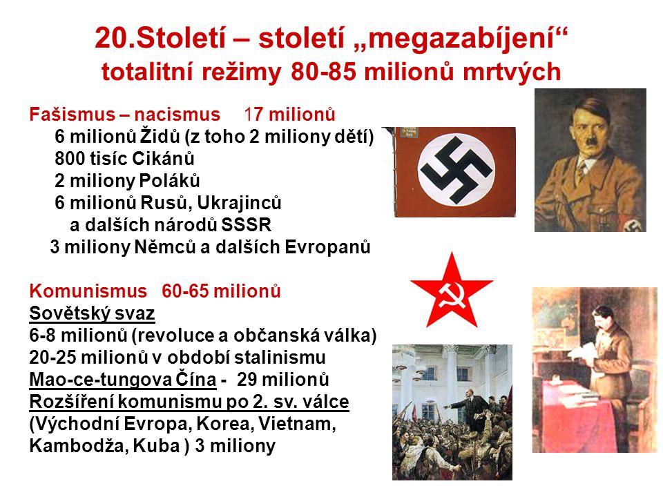 """20.Století – století """"megazabíjení totalitní režimy 80-85 milionů mrtvých"""