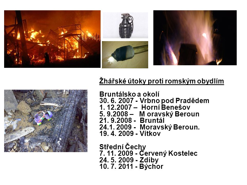 Žhářské útoky proti romským obydlím