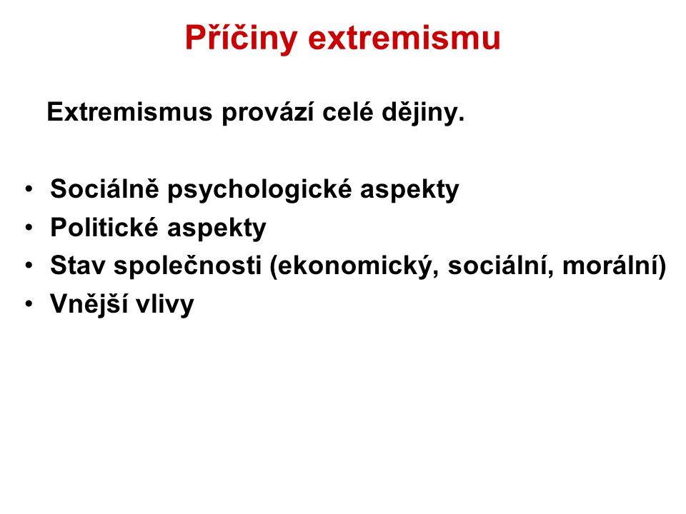 Příčiny extremismu Extremismus provází celé dějiny.