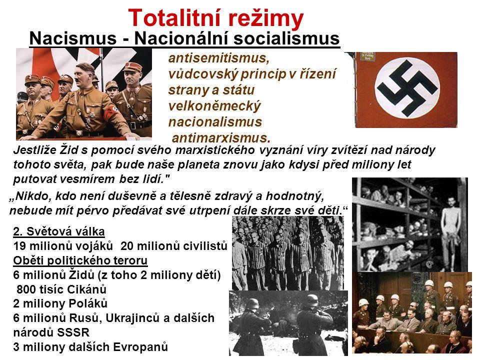 Totalitní režimy Nacismus - Nacionální socialismus antisemitismus,