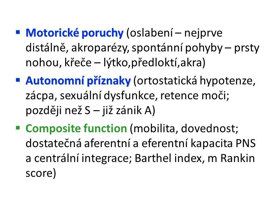 Motorické poruchy (oslabení – nejprve distálně, akroparézy, spontánní pohyby – prsty nohou, křeče – lýtko,předloktí,akra)