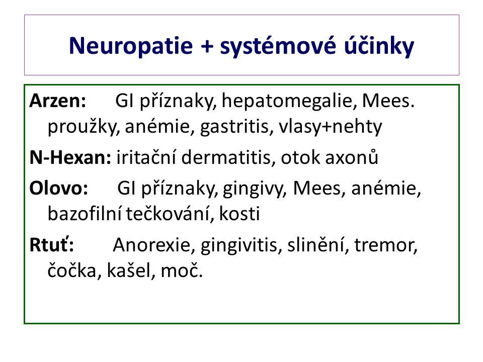 Neuropatie + systémové účinky
