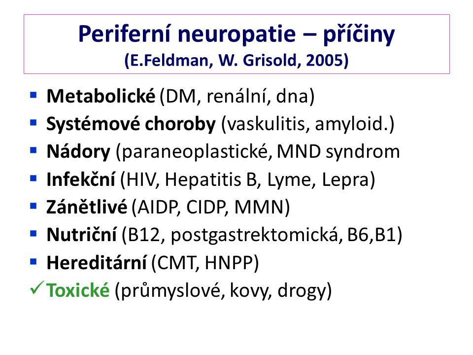 Periferní neuropatie – příčiny (E.Feldman, W. Grisold, 2005)