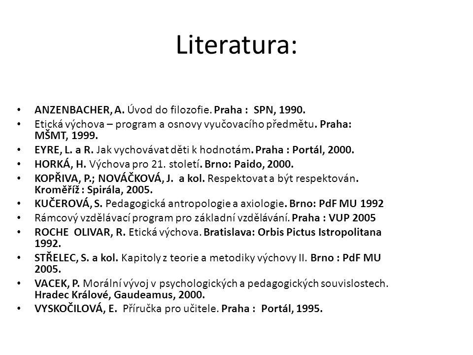 Literatura: ANZENBACHER, A. Úvod do filozofie. Praha : SPN, 1990.