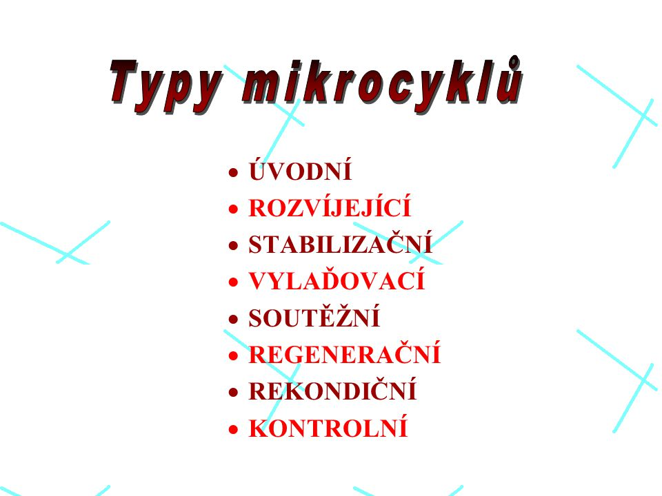 Typy mikrocyklů ÚVODNÍ ROZVÍJEJÍCÍ STABILIZAČNÍ VYLAĎOVACÍ SOUTĚŽNÍ