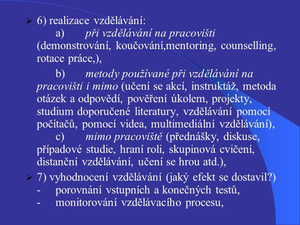 6) realizace vzdělávání:. a)