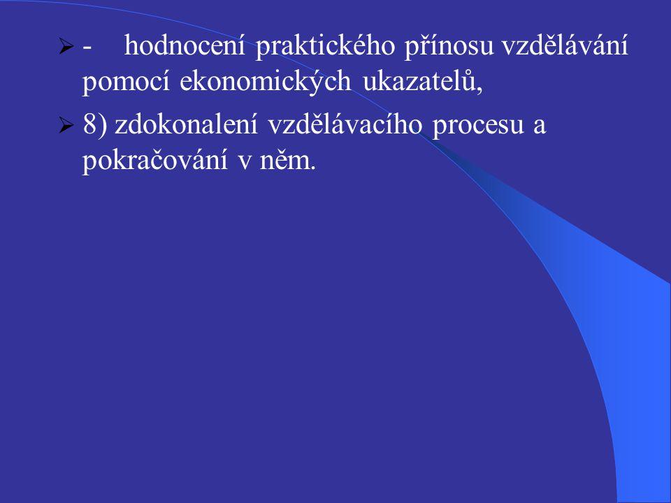 - hodnocení praktického přínosu vzdělávání pomocí ekonomických ukazatelů,
