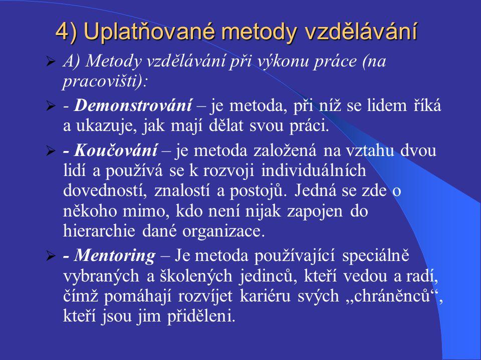 4) Uplatňované metody vzdělávání