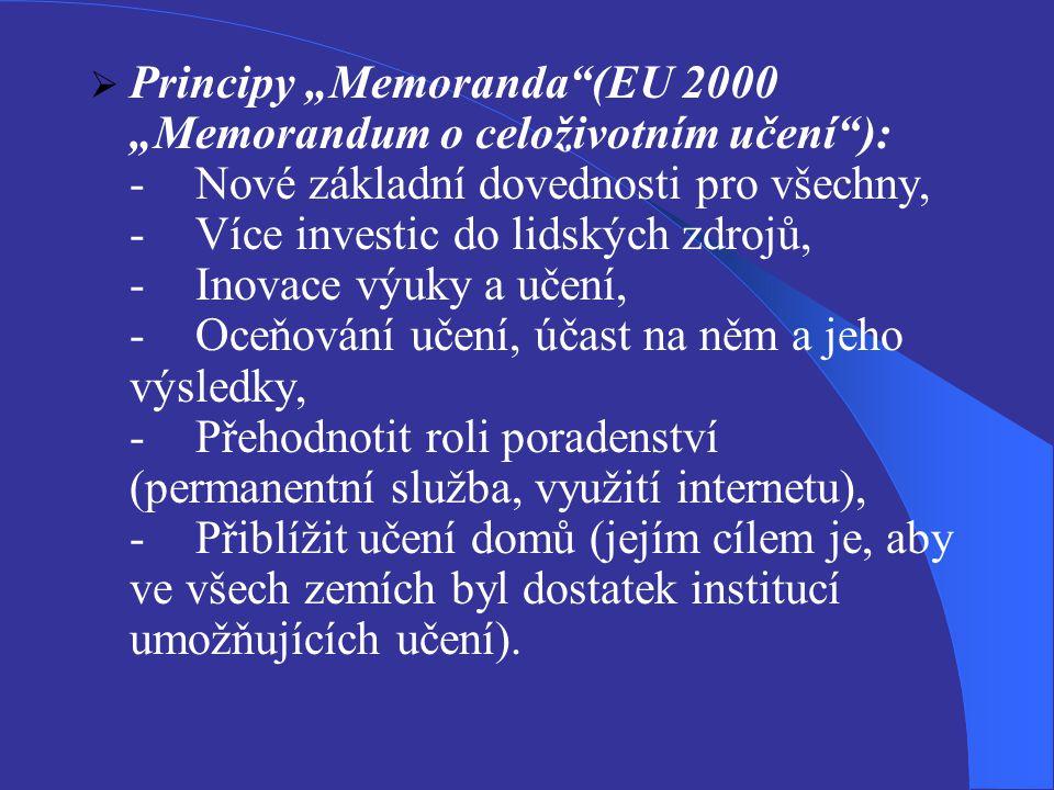"""Principy """"Memoranda (EU 2000 """"Memorandum o celoživotním učení ): -"""