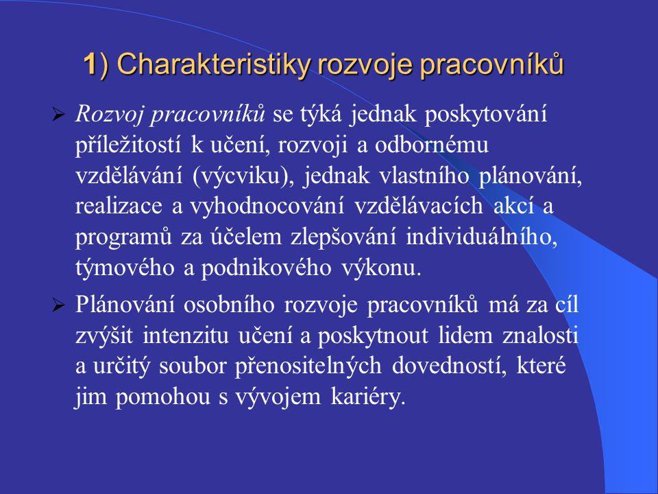 1) Charakteristiky rozvoje pracovníků