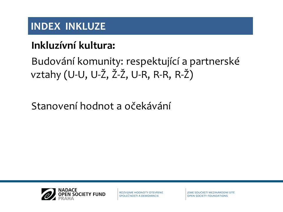 Index inkluze Inkluzívní kultura: Budování komunity: respektující a partnerské vztahy (U-U, U-Ž, Ž-Ž, U-R, R-R, R-Ž) Stanovení hodnot a očekávání