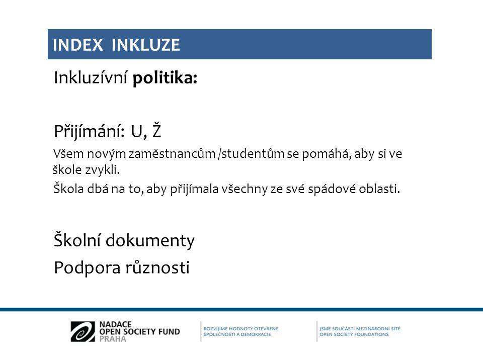 Index inkluze Inkluzívní politika: Přijímání: U, Ž Školní dokumenty