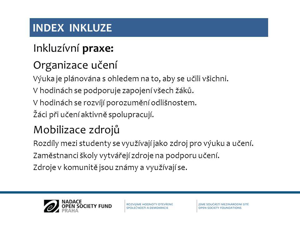 Index inkluze Inkluzívní praxe: Organizace učení Mobilizace zdrojů