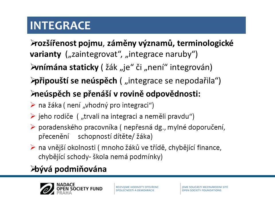 """INTEGRACE rozšířenost pojmu, záměny významů, terminologické varianty (""""zaintegrovat , """"integrace naruby )"""
