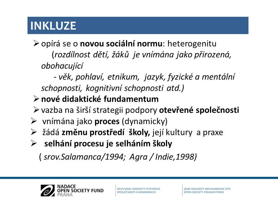 INKLUZE opírá se o novou sociální normu: heterogenitu (rozdílnost dětí, žáků je vnímána jako přirozená, obohacující.