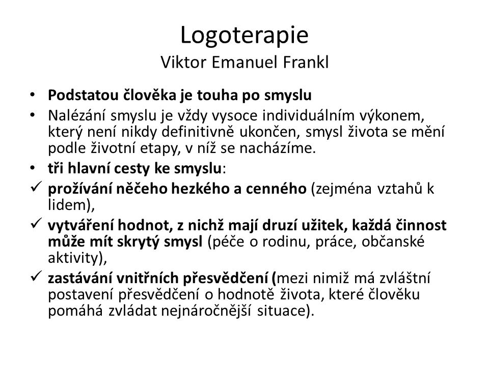 Logoterapie Viktor Emanuel Frankl