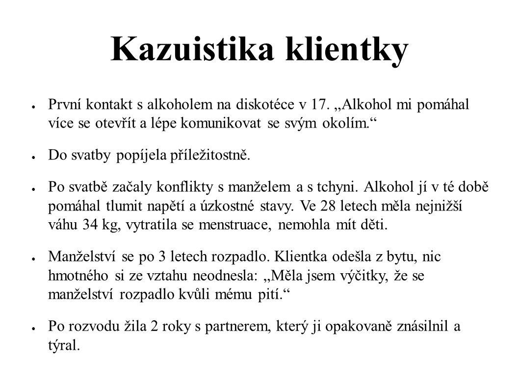 """Kazuistika klientky První kontakt s alkoholem na diskotéce v 17. """"Alkohol mi pomáhal více se otevřít a lépe komunikovat se svým okolím."""