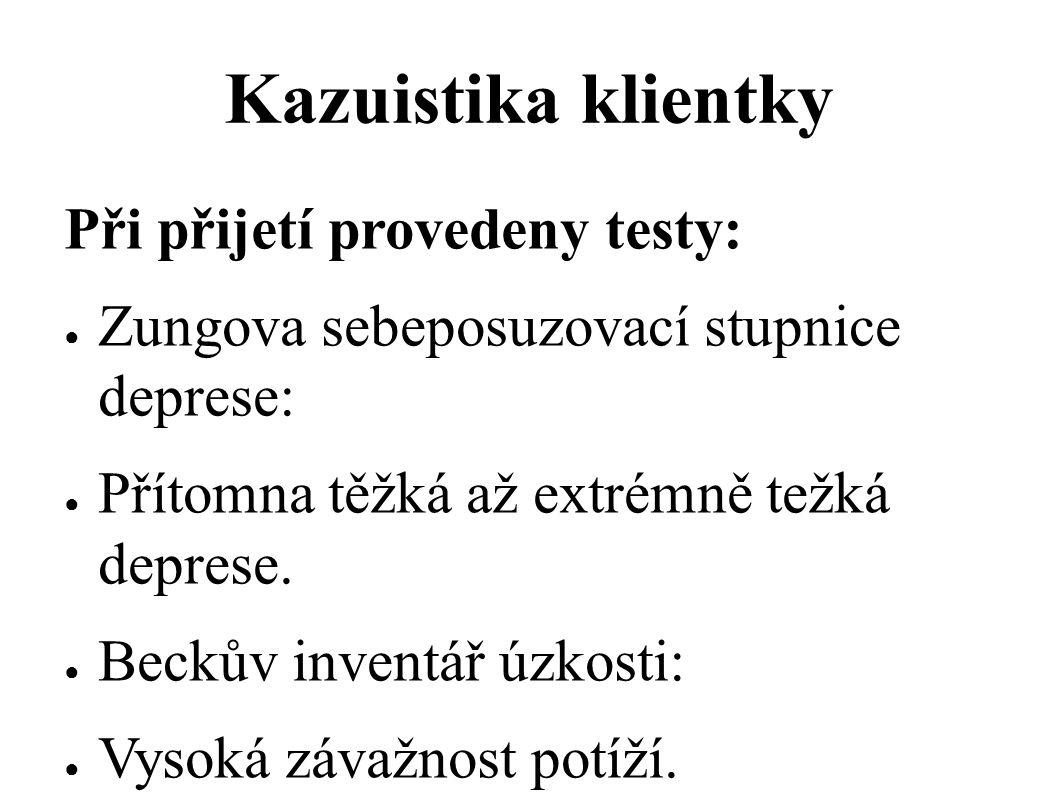 Kazuistika klientky Při přijetí provedeny testy: