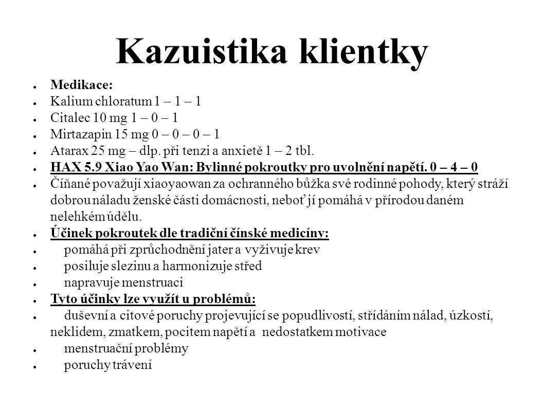Kazuistika klientky Medikace: Kalium chloratum 1 – 1 – 1