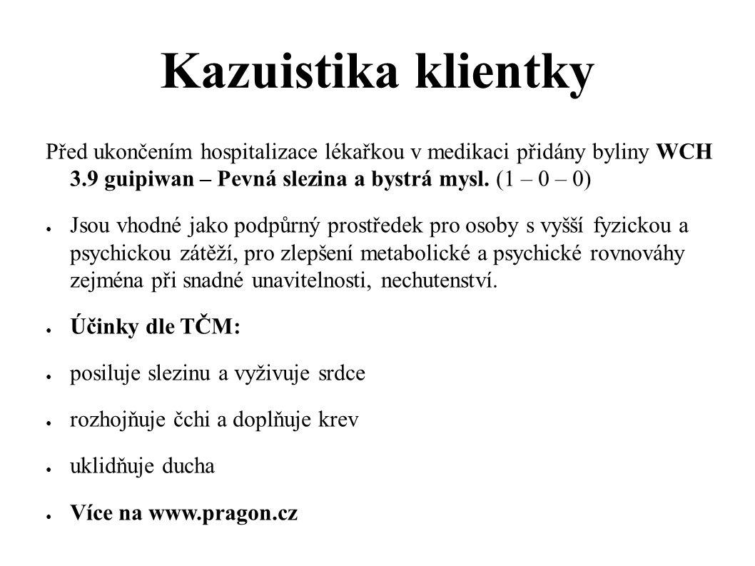 Kazuistika klientky Před ukončením hospitalizace lékařkou v medikaci přidány byliny WCH 3.9 guipiwan – Pevná slezina a bystrá mysl. (1 – 0 – 0)
