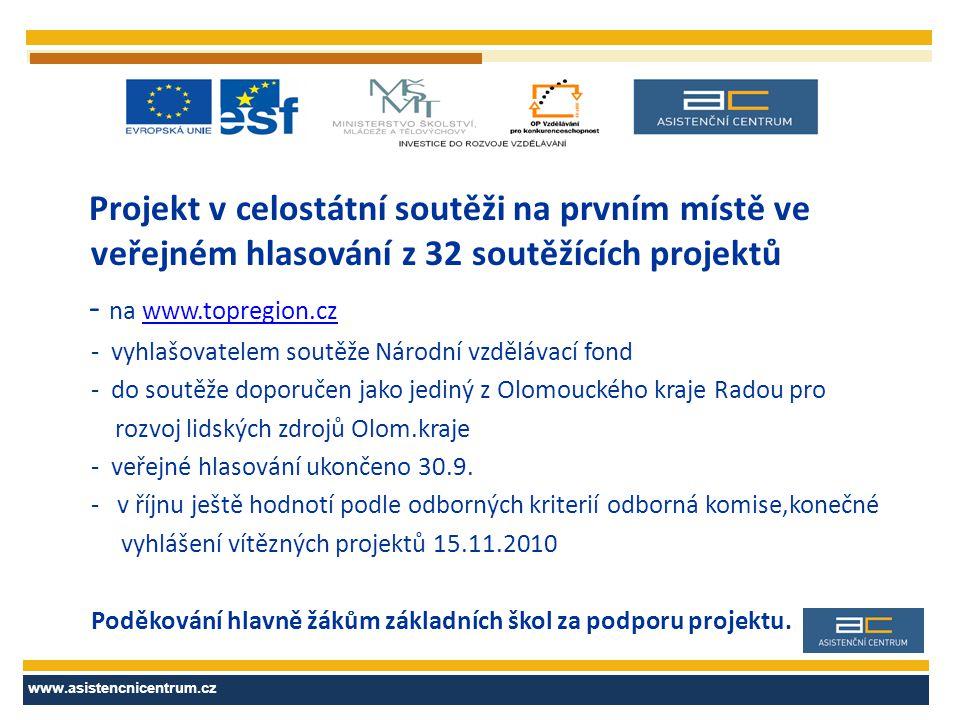 Projekt v celostátní soutěži na prvním místě ve veřejném hlasování z 32 soutěžících projektů