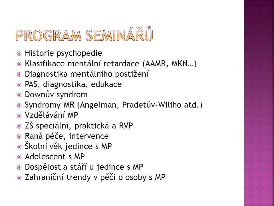 Program seminářů Historie psychopedie