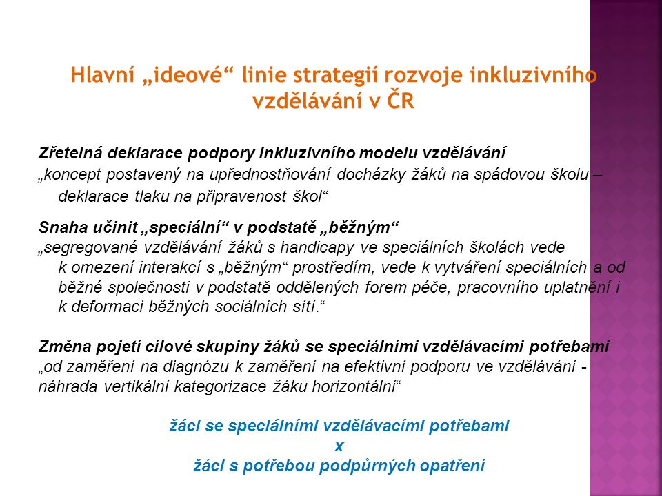 """Hlavní """"ideové linie strategií rozvoje inkluzivního vzdělávání v ČR"""