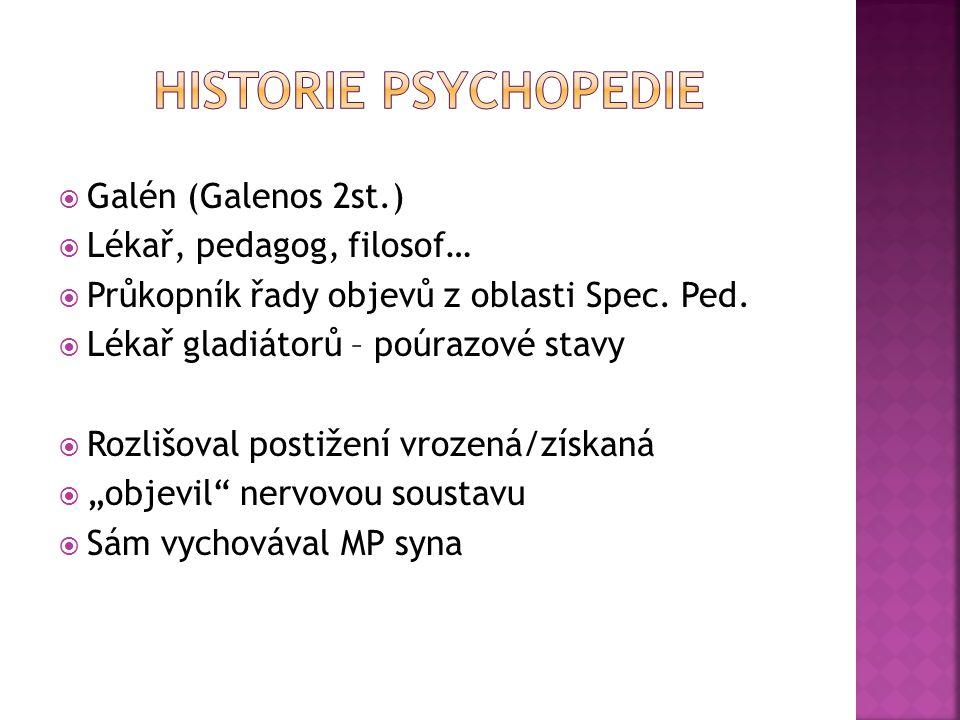 Historie Psychopedie Galén (Galenos 2st.) Lékař, pedagog, filosof…