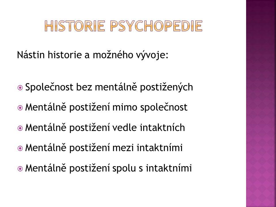 Historie Psychopedie Nástin historie a možného vývoje: