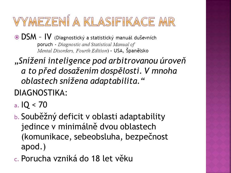 Vymezení a klasifikace MR