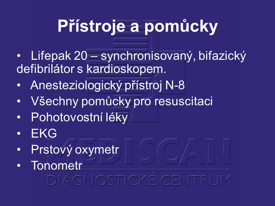 Přístroje a pomůcky Lifepak 20 – synchronisovaný, bifazický defibrilátor s kardioskopem. Anesteziologický přístroj N-8.