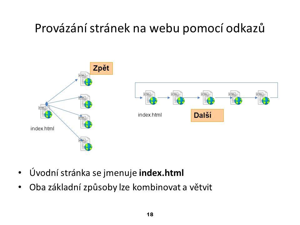 Provázání stránek na webu pomocí odkazů
