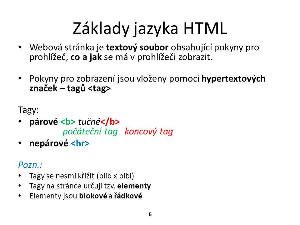 Základy jazyka HTML Webová stránka je textový soubor obsahující pokyny pro prohlížeč, co a jak se má v prohlížeči zobrazit.