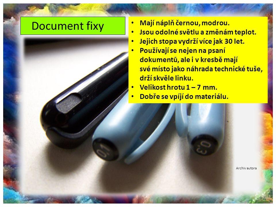Document fixy Mají náplň černou, modrou.