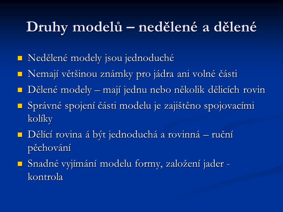 Druhy modelů – nedělené a dělené