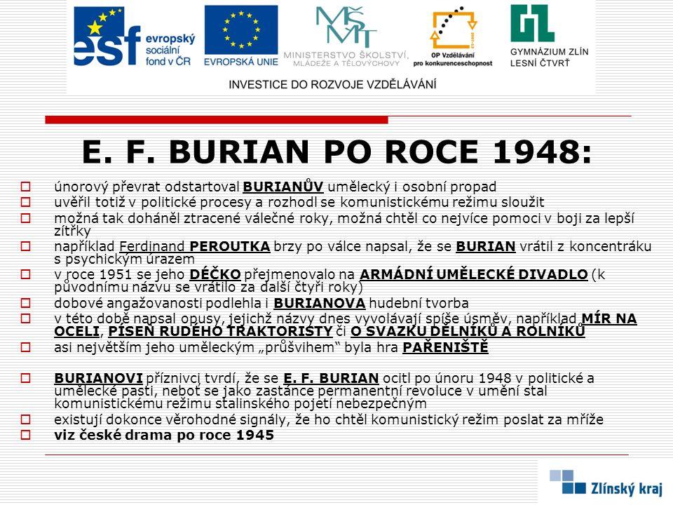 E. F. BURIAN PO ROCE 1948: únorový převrat odstartoval BURIANŮV umělecký i osobní propad.