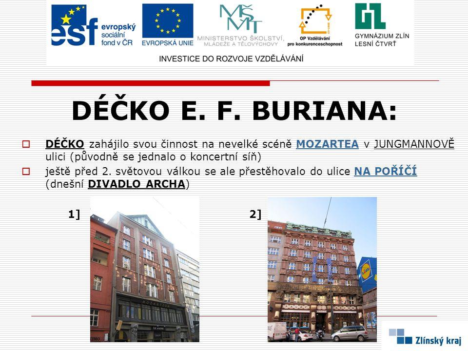 DÉČKO E. F. BURIANA: DÉČKO zahájilo svou činnost na nevelké scéně MOZARTEA v JUNGMANNOVĚ ulici (původně se jednalo o koncertní síň)