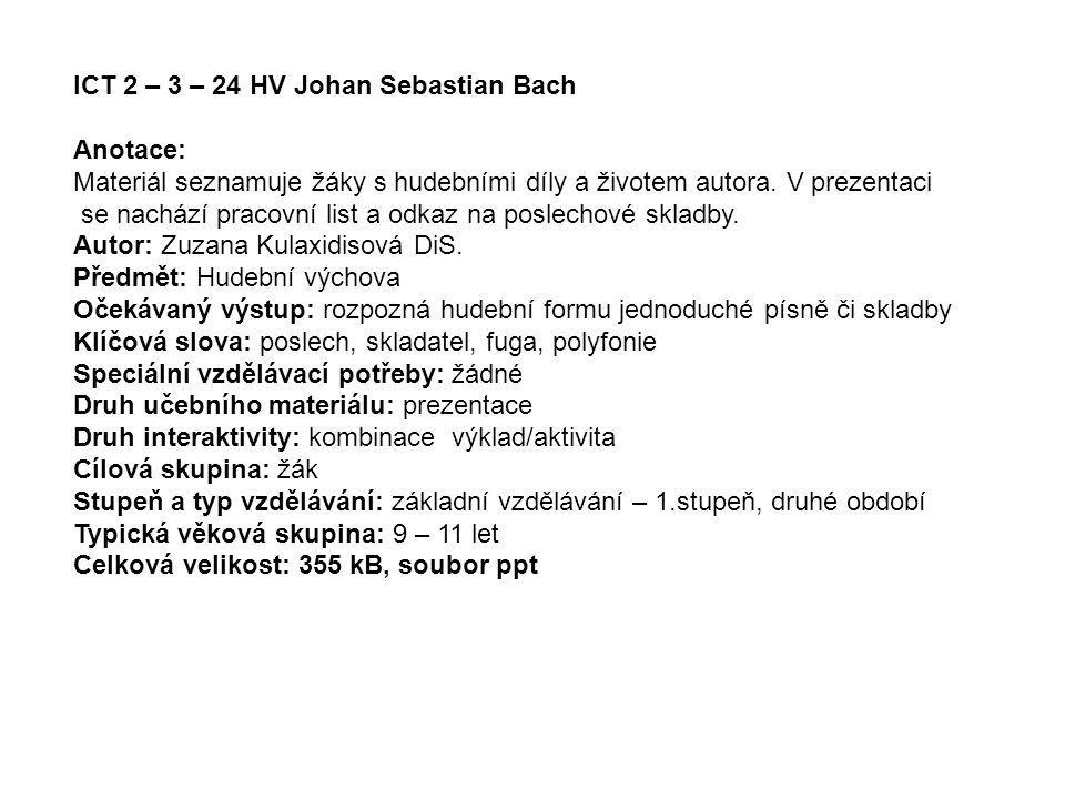 ICT 2 – 3 – 24 HV Johan Sebastian Bach