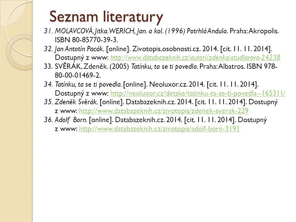Seznam literatury MOLAVCOVÁ, Jitka. WERICH, Jan. a kol. (1996) Potrhlá Andula. Praha: Akropolis. ISBN 80-85770-39-3.