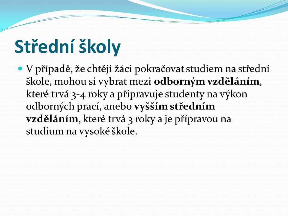 Střední školy