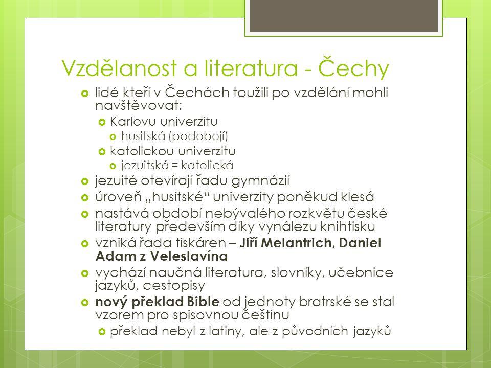 Vzdělanost a literatura - Čechy