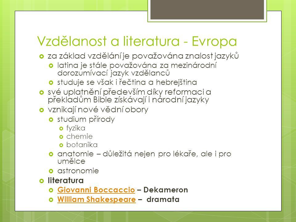 Vzdělanost a literatura - Evropa