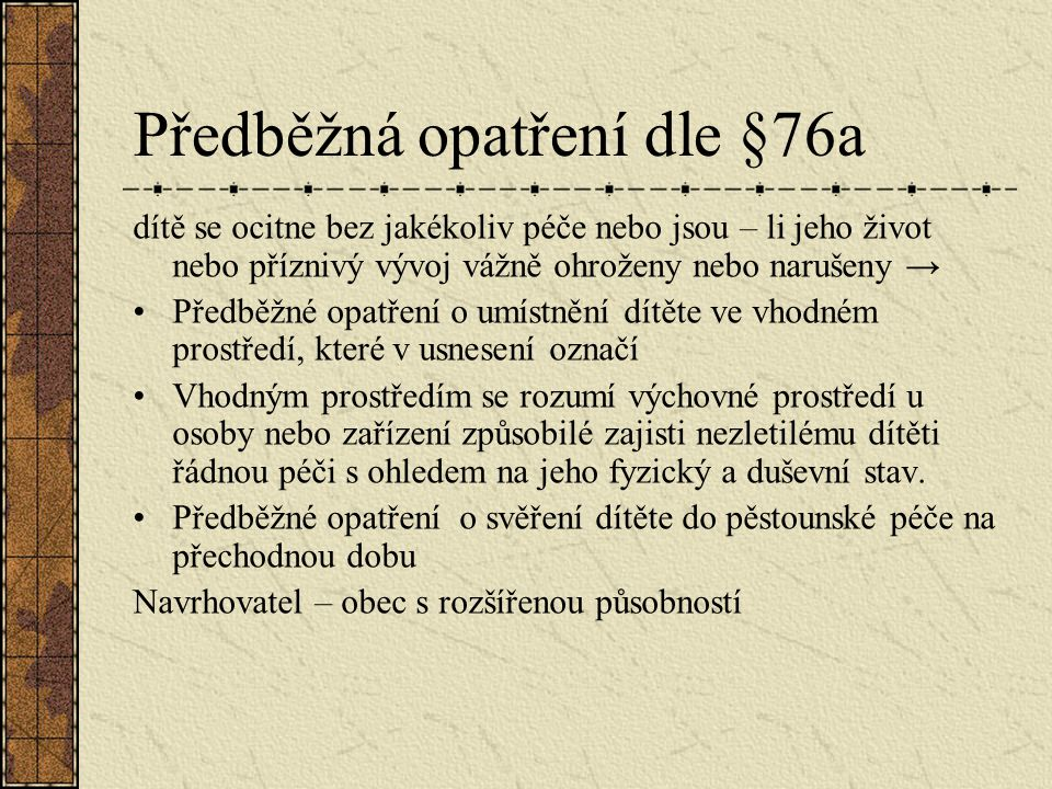 Předběžná opatření dle §76a