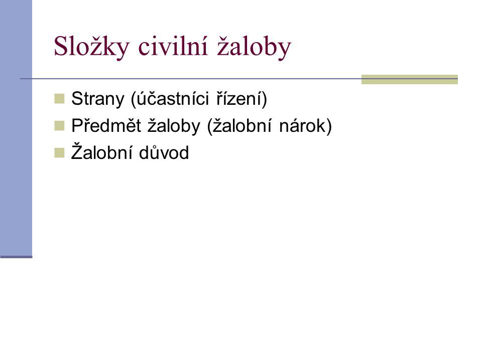 Složky civilní žaloby Strany (účastníci řízení)