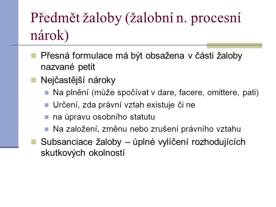 Předmět žaloby (žalobní n. procesní nárok)