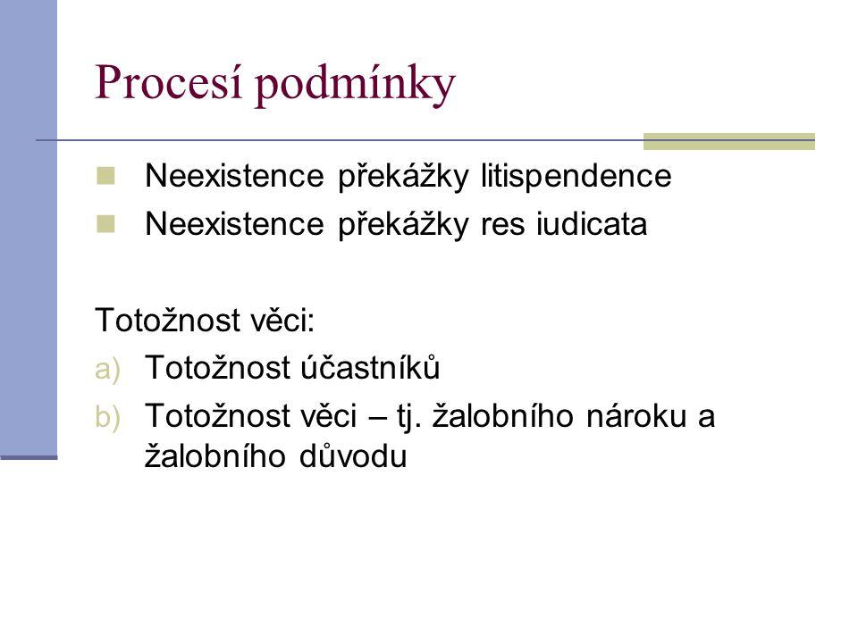 Procesí podmínky Neexistence překážky litispendence