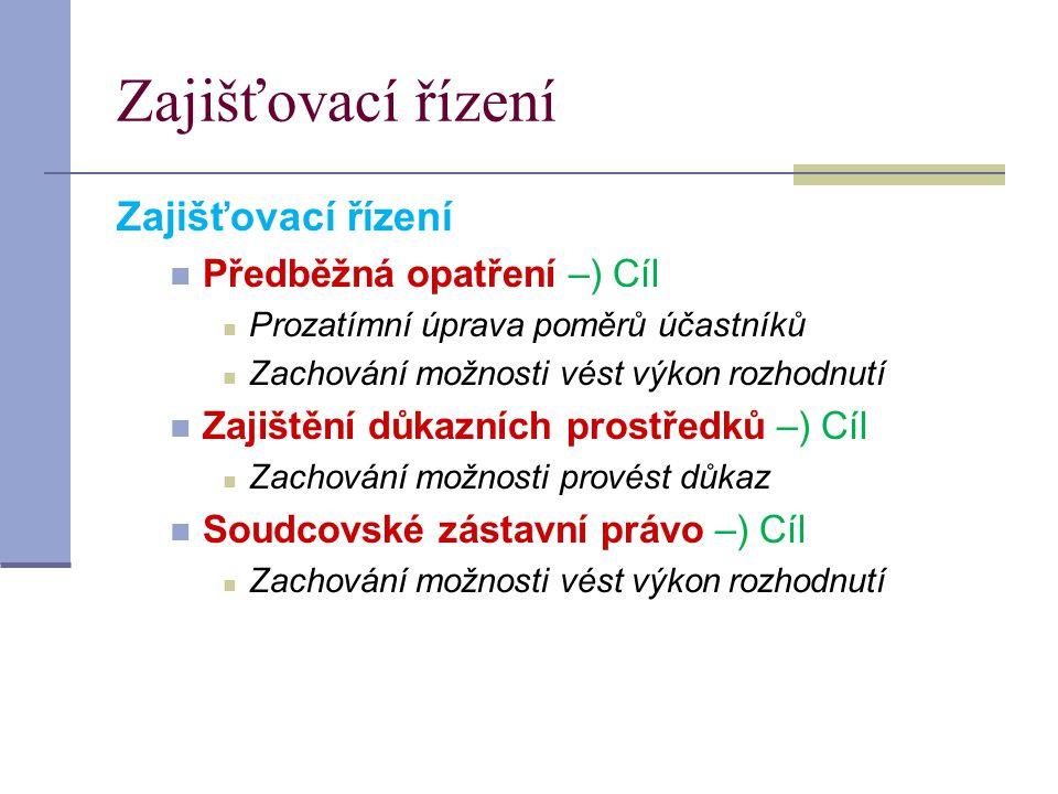 Zajišťovací řízení Zajišťovací řízení Předběžná opatření –) Cíl