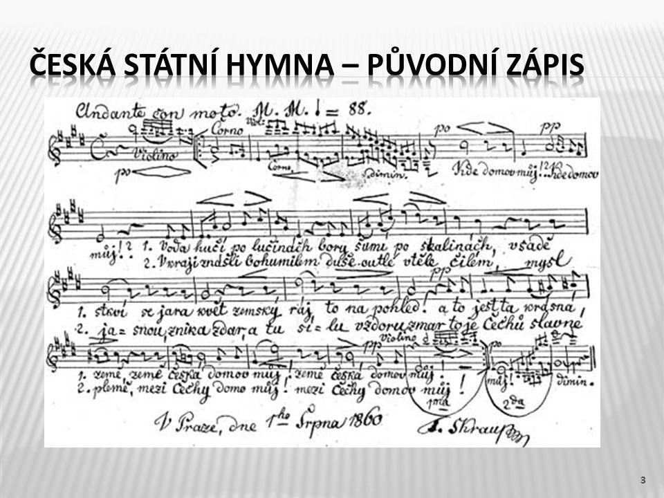 Česká státní hymna – původní zápis