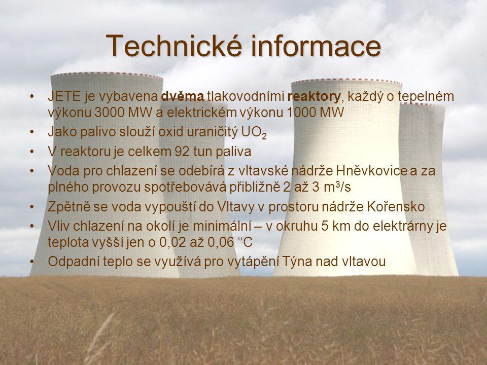 Technické informace JETE je vybavena dvěma tlakovodními reaktory, každý o tepelném výkonu 3000 MW a elektrickém výkonu 1000 MW.