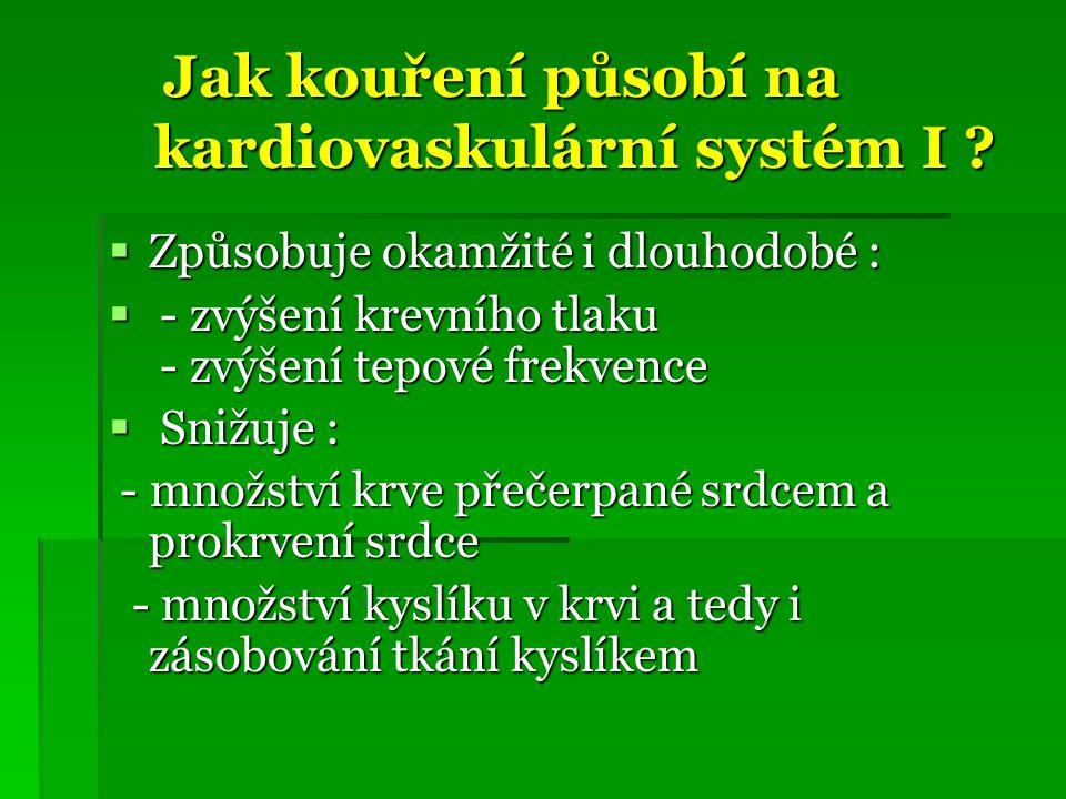 Jak kouření působí na kardiovaskulární systém I